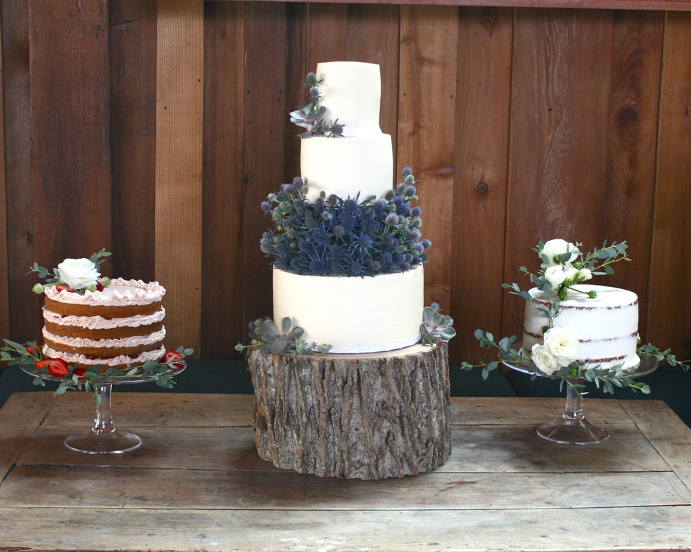 Wedding cake trio by Cake Bloom to Timber Cove resort