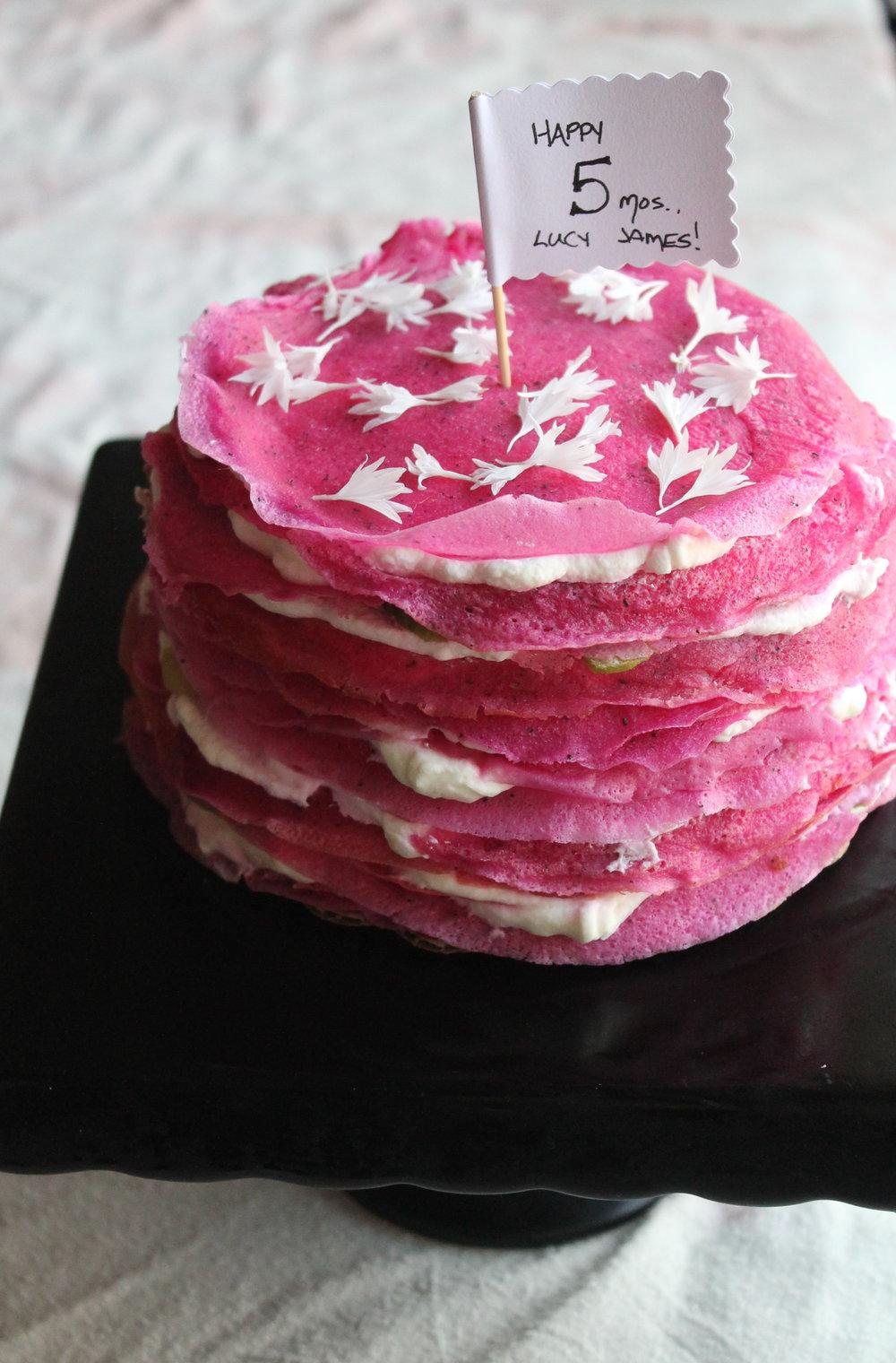 dragonfruit crepe cake