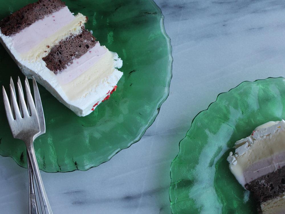 neapolitan ice cream cake slices for summer birthday parties