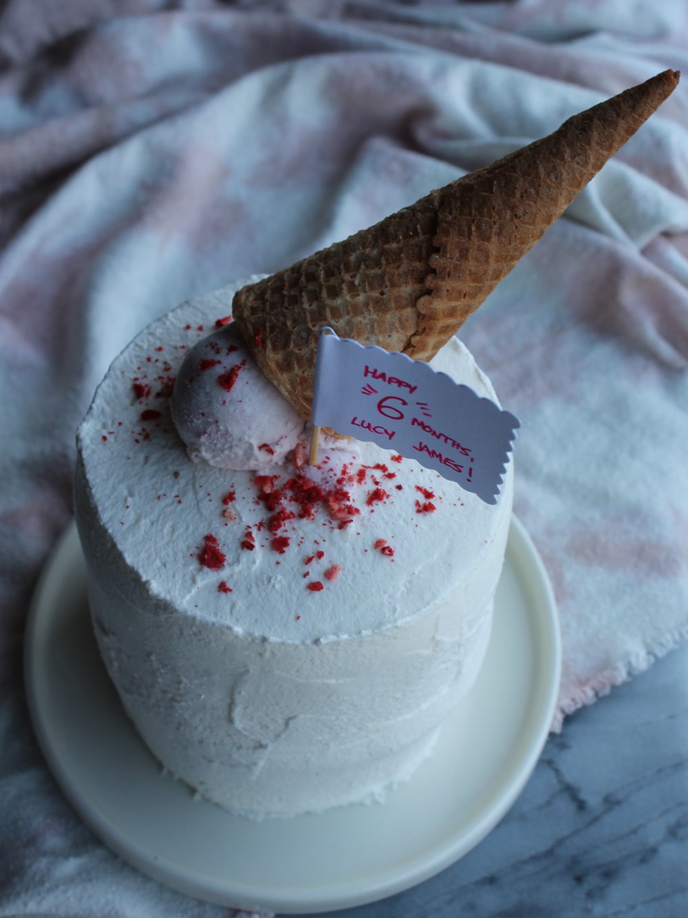 Neapolitan Ice Cream Cake with Ice cream cone topper
