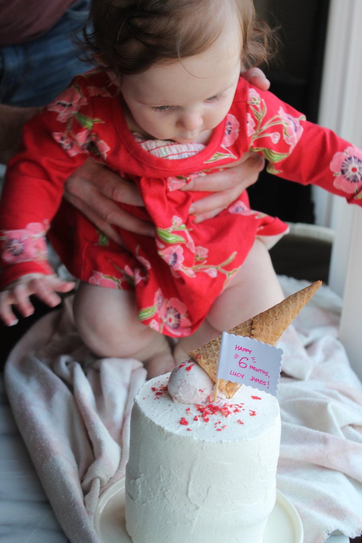 Neapolitan ice Cream Cake for baby's birthday