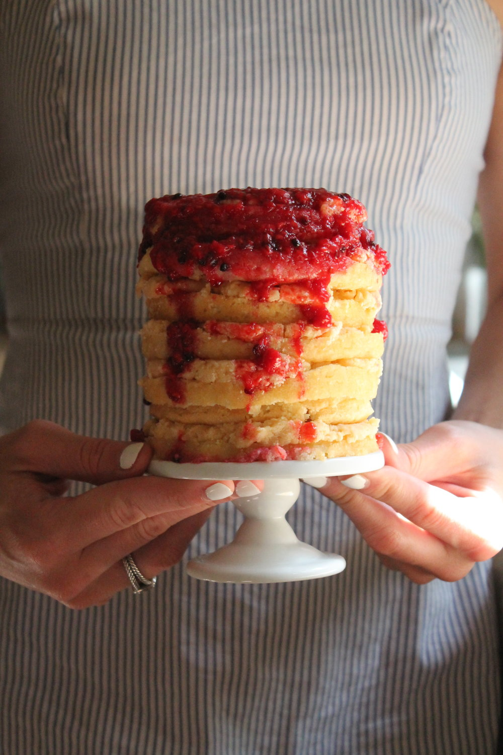 Miss Gertrude's Caramel Icing with Berry compote