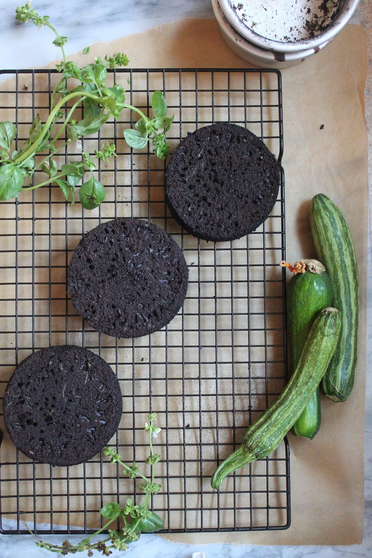 Chocolate Zucchini Cake assembly