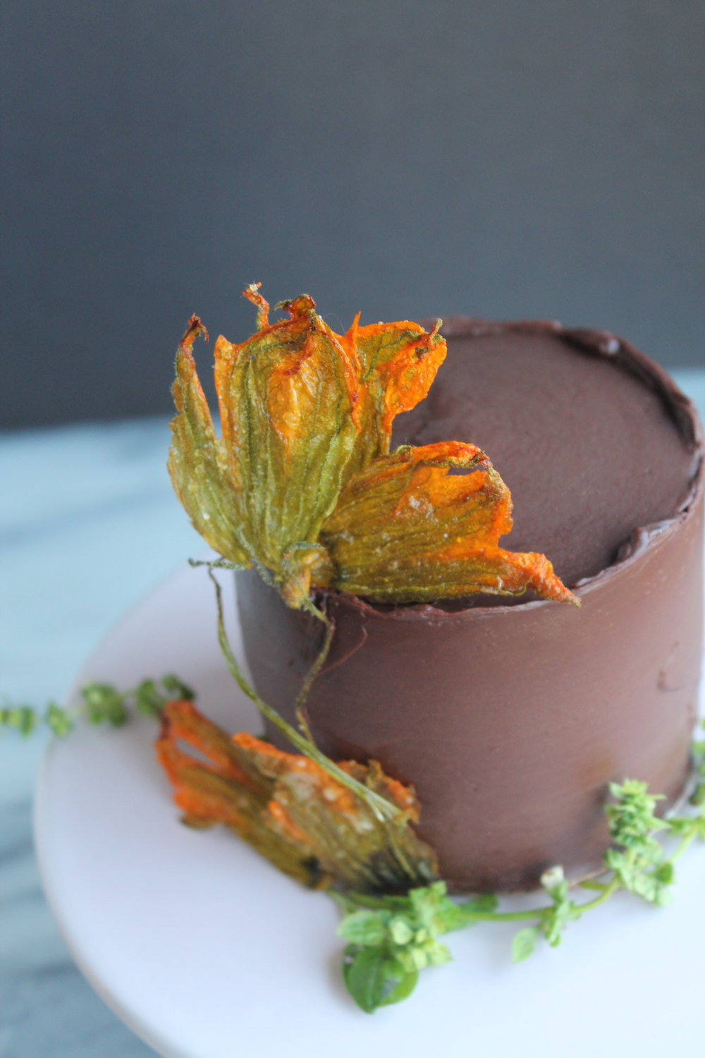 Chocolate Zucchini Cake with Candied Squash Blossoms Recipe