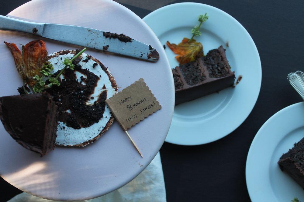 chocolate zucchini cake with chocolate basil ganache slices.JPG