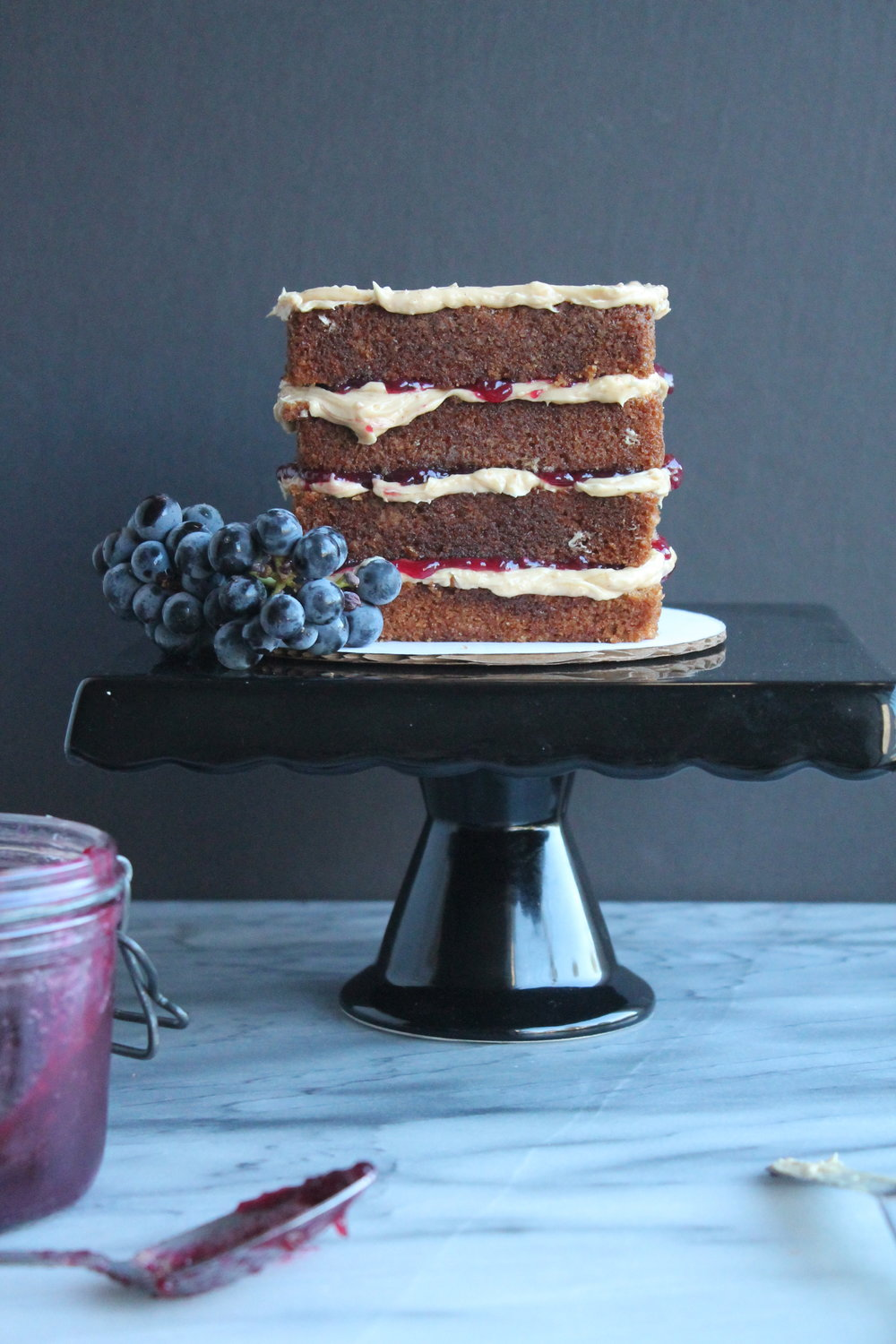 peanut  Butter Cake with homemade grape jelly