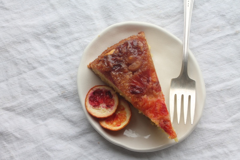 Blood Orange upside down polenta cake slice