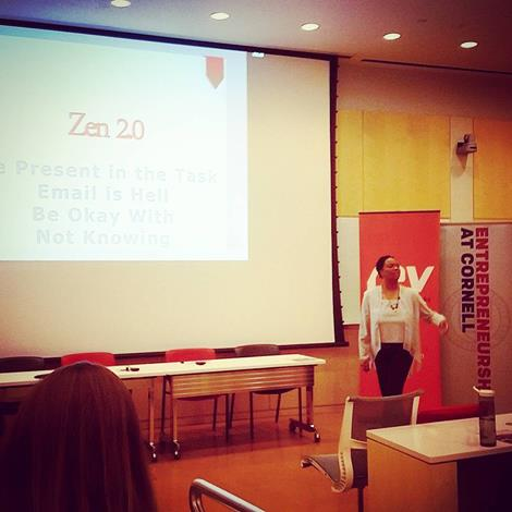 "Michelle shares tips on ""Zentrifying Your Life"" at a conference featuring women from Ebay, small businesses, millennial student leaders and other women leaders from around the nation at a conference held at Michelle's alma mater, Cornell University."