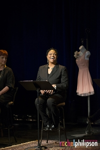 """Michelle with Kristin Sad (left) in """"Love, Loss and What I Wore,"""" at the Hangar Theatre."""