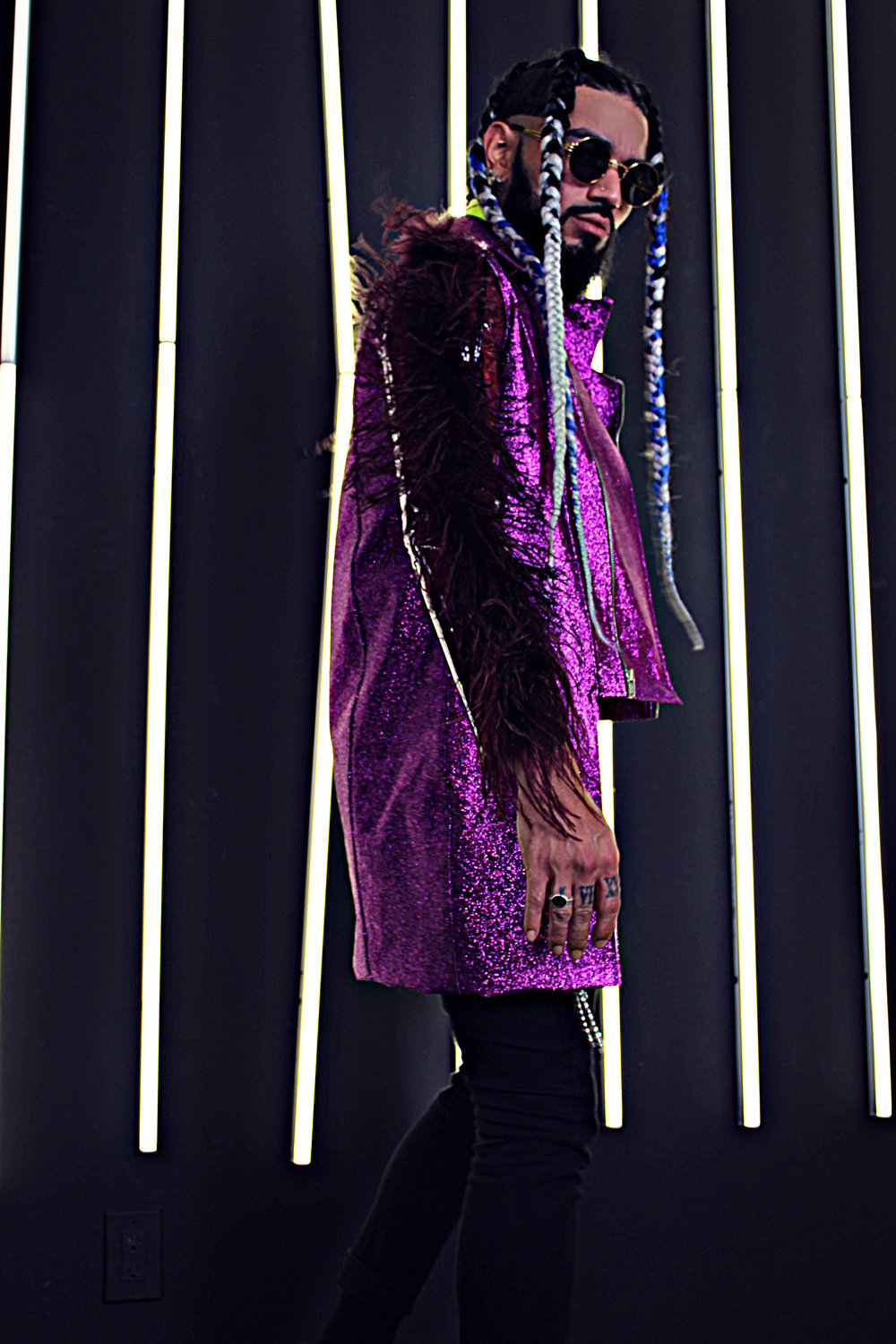 Purple Metallic Trench Coat with Ostrich Feather Details.