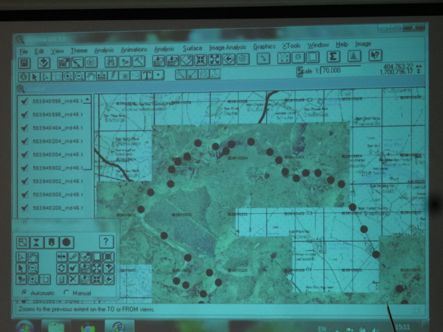 GIS map presented by the Office of Natural Resources and Environment at the RECOVER workshop on 8 April 2015. (Photo Credit: MSSRC.)