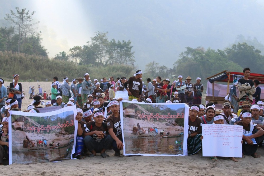 "Local people near Hatgyi Dam pointing out that Salween is ""not for sale"" on March 14, 2015 (International River Action Day)."