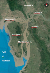 Thanlwin River estuary with four tributaries