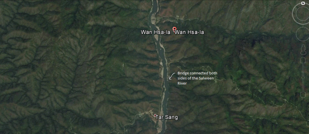 Google Earth showing Wan Hsala and Tar Sang villages connected by the bridge across Salween River.