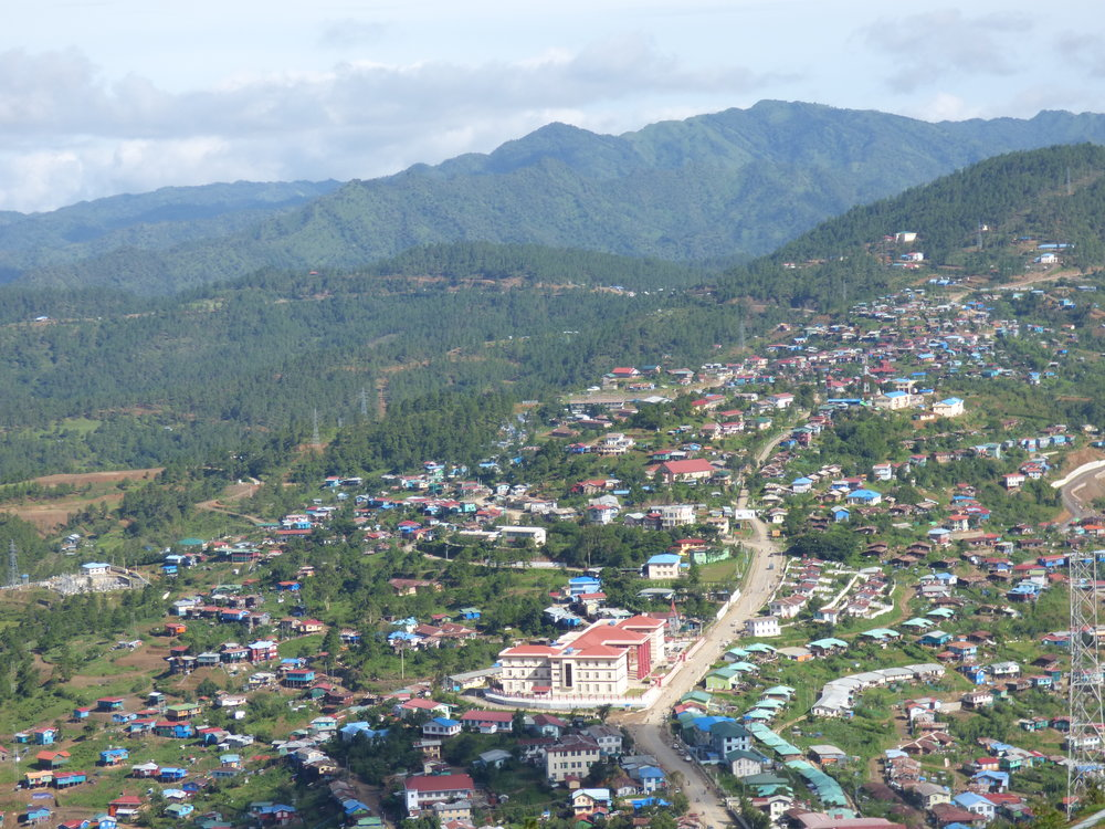Hakha town with the State Parliament building prominent in the center