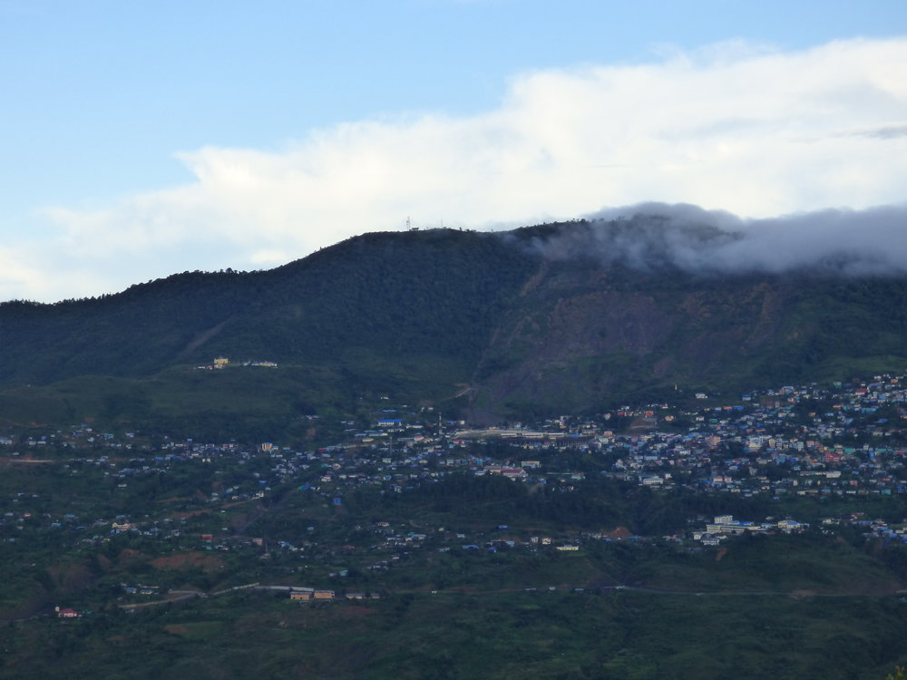 The old town area of Hakha in the shadow of the June 2015 landslide
