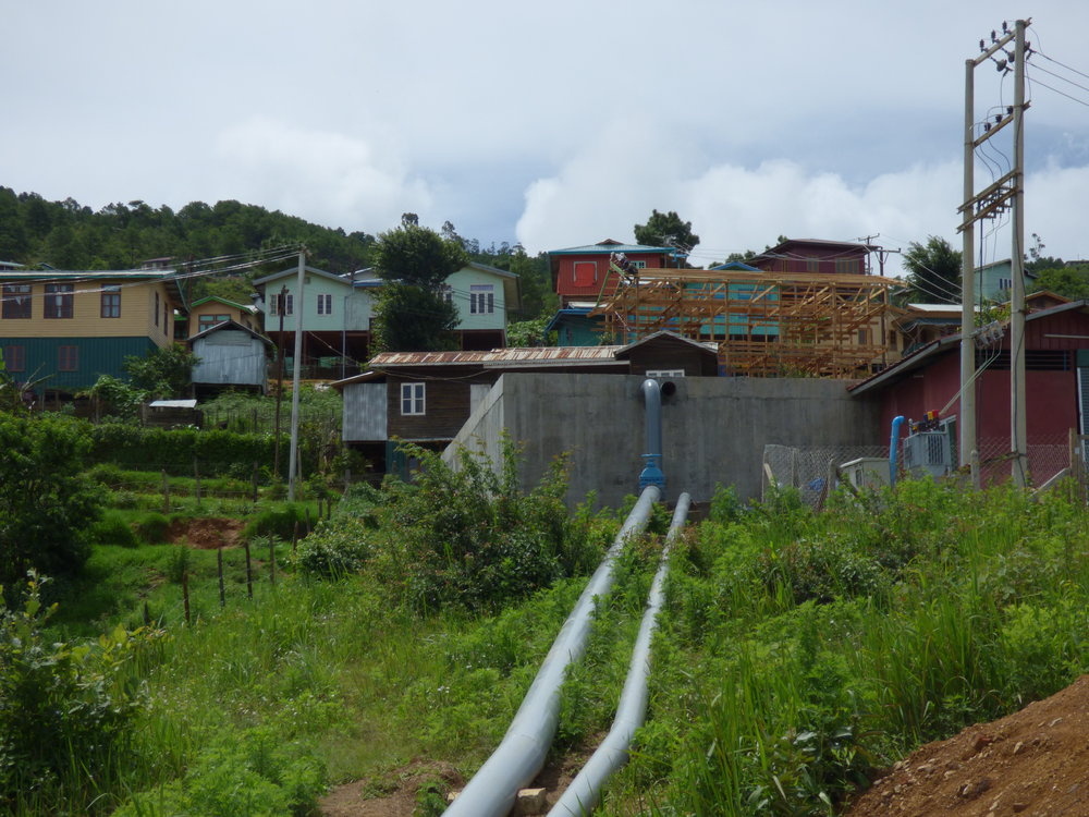 The pipeline and large storage tank that will connect to the Tiket Dam, and deliver municipal water to Hakha once commissioned