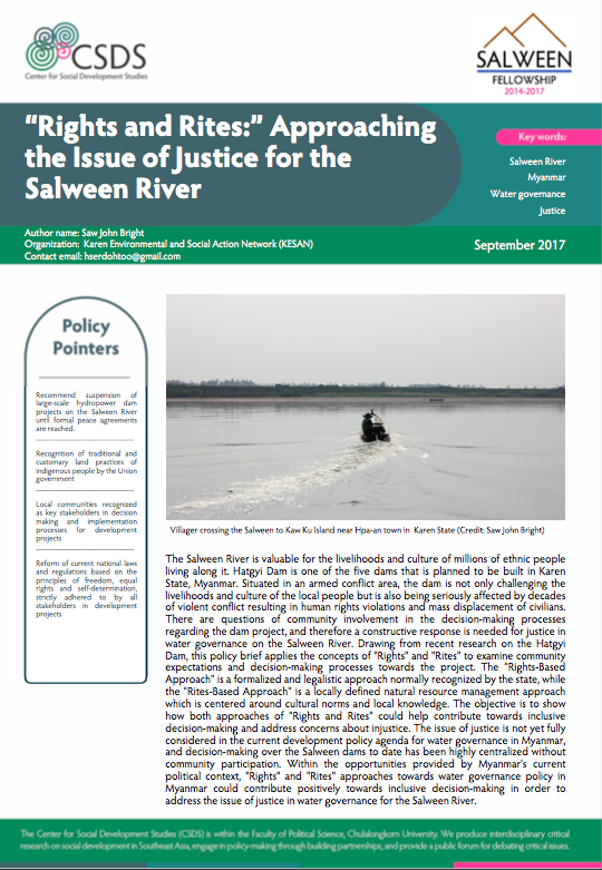 """Rights and Rites:"" Approaching the Issue of Justice for the Salween River policy brief"