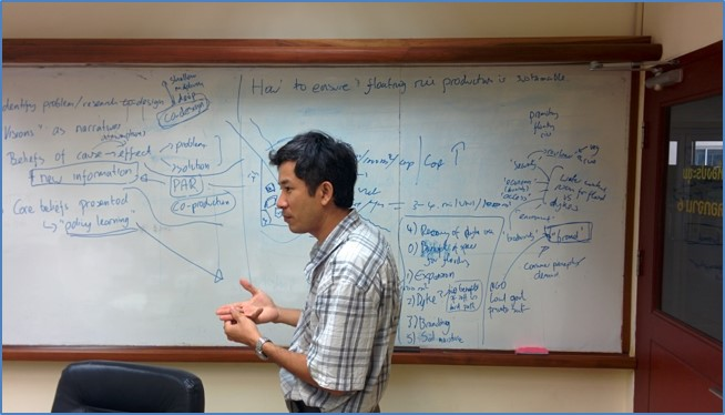 Dr. Nguyen Van Kien discussing project design with the RECOVER research team (Credit: Carl Middleton)