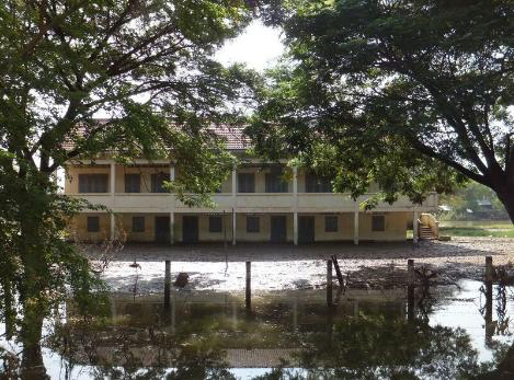 A rural school damaged by flooding in Battambang Province Cambodia in November 2011 (Credit: Carl Middleton)