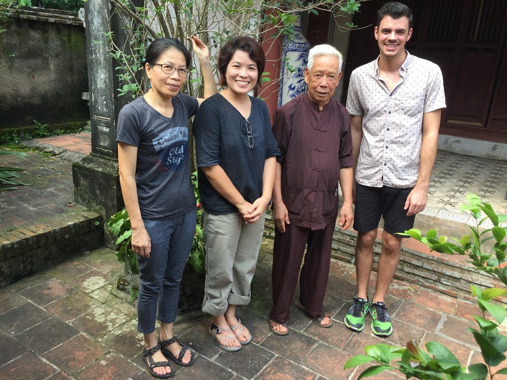 KNOTS researchers with a community member of Duong lam UNESCO Village, Vietnam