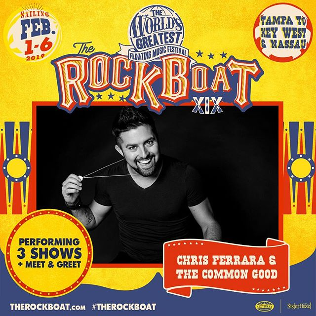 @therockboat XIX :: Feb 1-6 :: @sxmliveloud :: Very excited to announce that the boys and I have been asked to play on The Rock Boat XIX!! We will join the likes of @sisterhazelband @mattnathanson @plainwhitets and many more on a 4 day, 5 night music festival at sea with stops in Key West & Nassau. It is currently sold out, but if you would like to join us, you can go to their website (www.therockboat.com) and get on the waiting list. Big shoutout to all the Hazel boys for the love and support as well as all you Hazelnuts! Can't wait to show you all what CFTCG has to offer! :: @dglou_ @rayafterdark29 @danielguitarist @gregfromtonight @afritzlife @trev0889 #chrisferrara #thecommongood #iv #therockboat #trb #trbxix