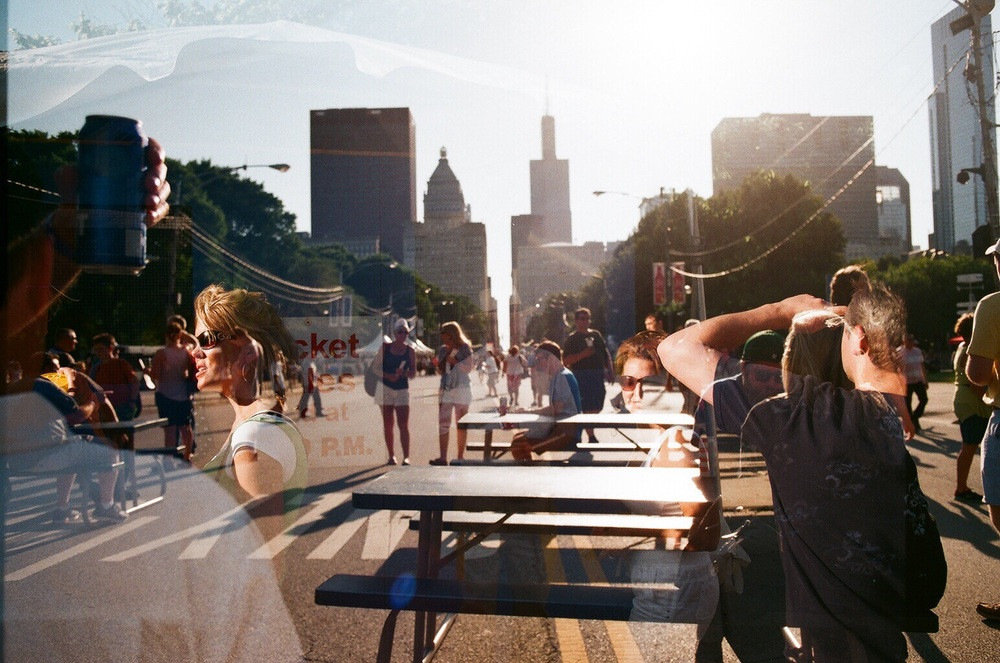 Accidental (but cool!) double exposure looking towards the city's skyline from a food court in the festival. Chicago Blues Festival 2016, Blake Pleasant