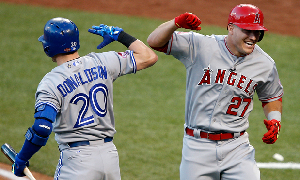 American League stars Josh Donaldson and Mike Trout. Image: Joe Robbins
