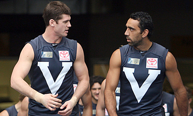 Jonathan Brown and Adam Goodes represent the Big V. Image: Herald Sun