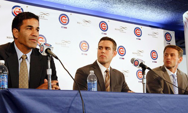 Jason McLeod, Theo Epstein and Jed Hoyer. Image: Phil Velasquez