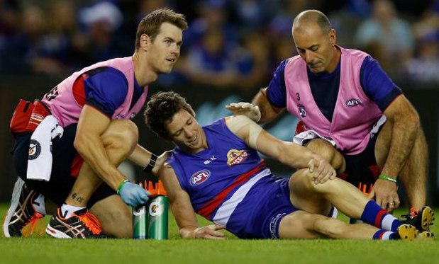 Bob Murphy missed the rest of the season after injuring his knee in Round 3. Image: AFL Media/Getty Images