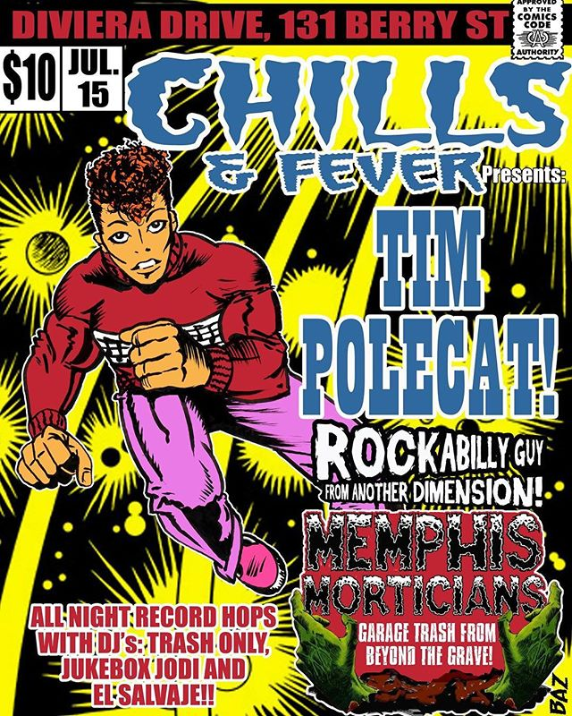 On July 15th we return to Diviera Drive to open for Tim Polecat! $10, we start at 11pm, doors at 10pm. Awesome flyer art by @clashcitytattoo #rockabilly #psychobilly #garagerock #punk #livemusic #brooklyn #nyc #memphismorticians #thememphismorticians