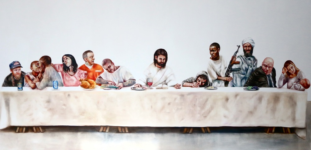 Last Supper, oil on canvas 12x6 feet,  $50,000 Gentile Embrace series