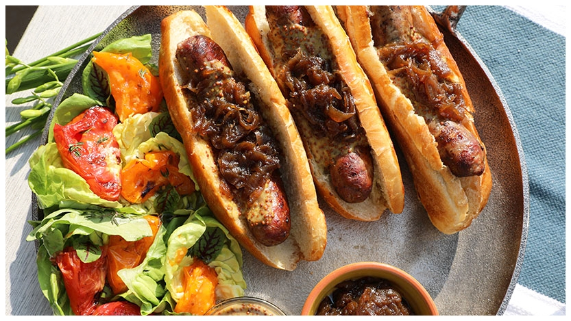 Beer Braised Brats with Beer Braised Caramelized Onions