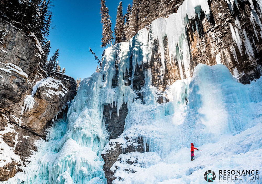 Ice Climbers alongside the Upper Falls, Johnston Canyon.
