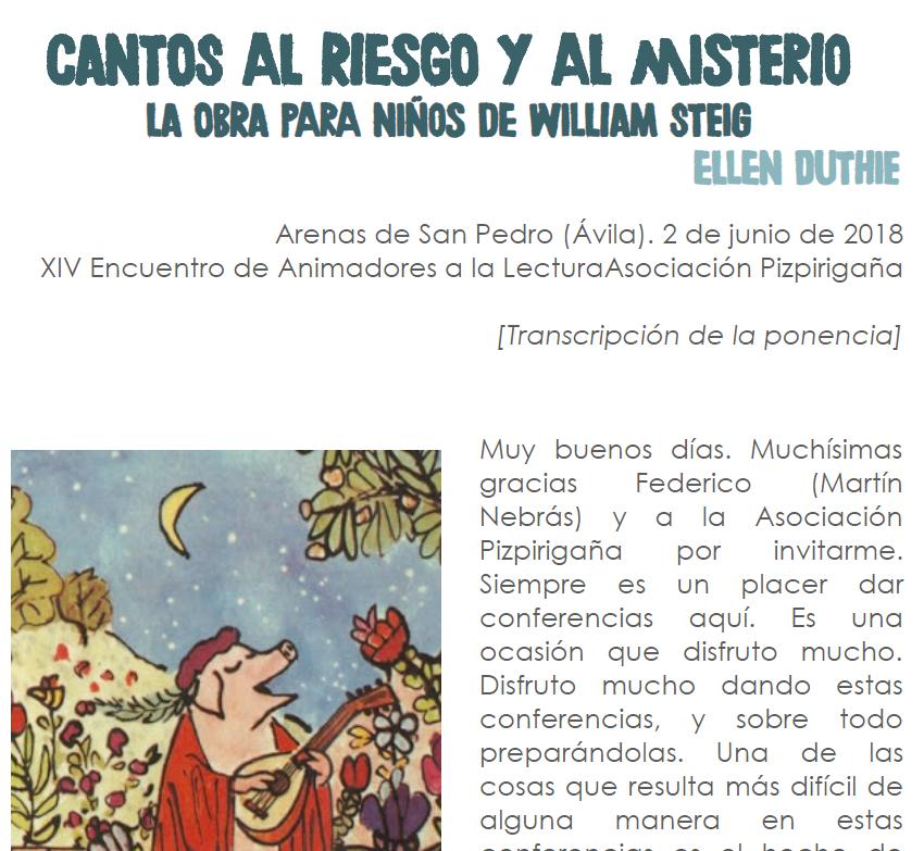 Lo leemos así  Cantos al riesgo y al misterio  La obra para niños de William Steig.png
