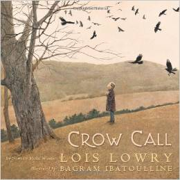 Crow Call - A hushed, contemplative picture book based on an episode from the author's own childhood. What happens when a father returns from war, a stranger to his child? Gentle, honest, a tale that examines one of the difficult aspects of war with real tenderness.