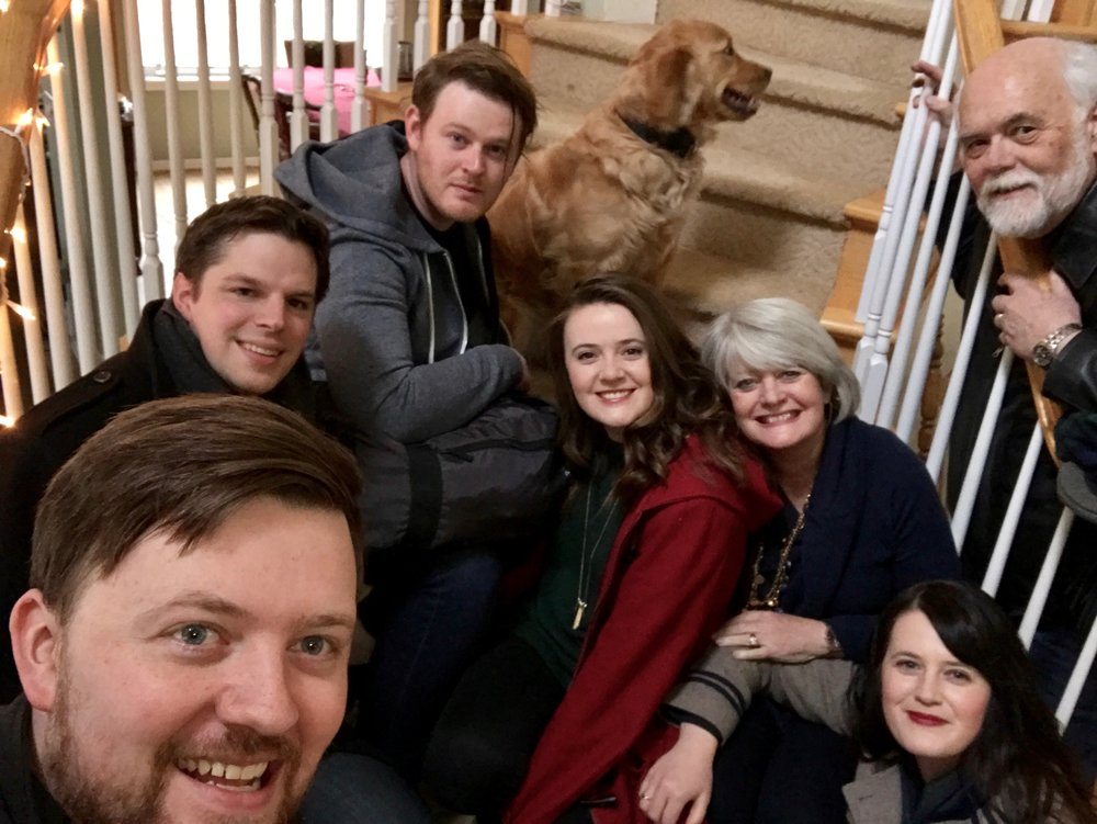 This is US! :) Joel, 31, front (studying in St. Andrews Masters & PHD), Sarah,33, lower corner, (Oxford), Joy, 22, red coat, (St. Andrews for her PHD), Thomas, above Joel, (Sarah's wonderful husband), Nathan,29, top, (Hollywood, producing film and acting), Clay and me, older!, keeping up with them all.