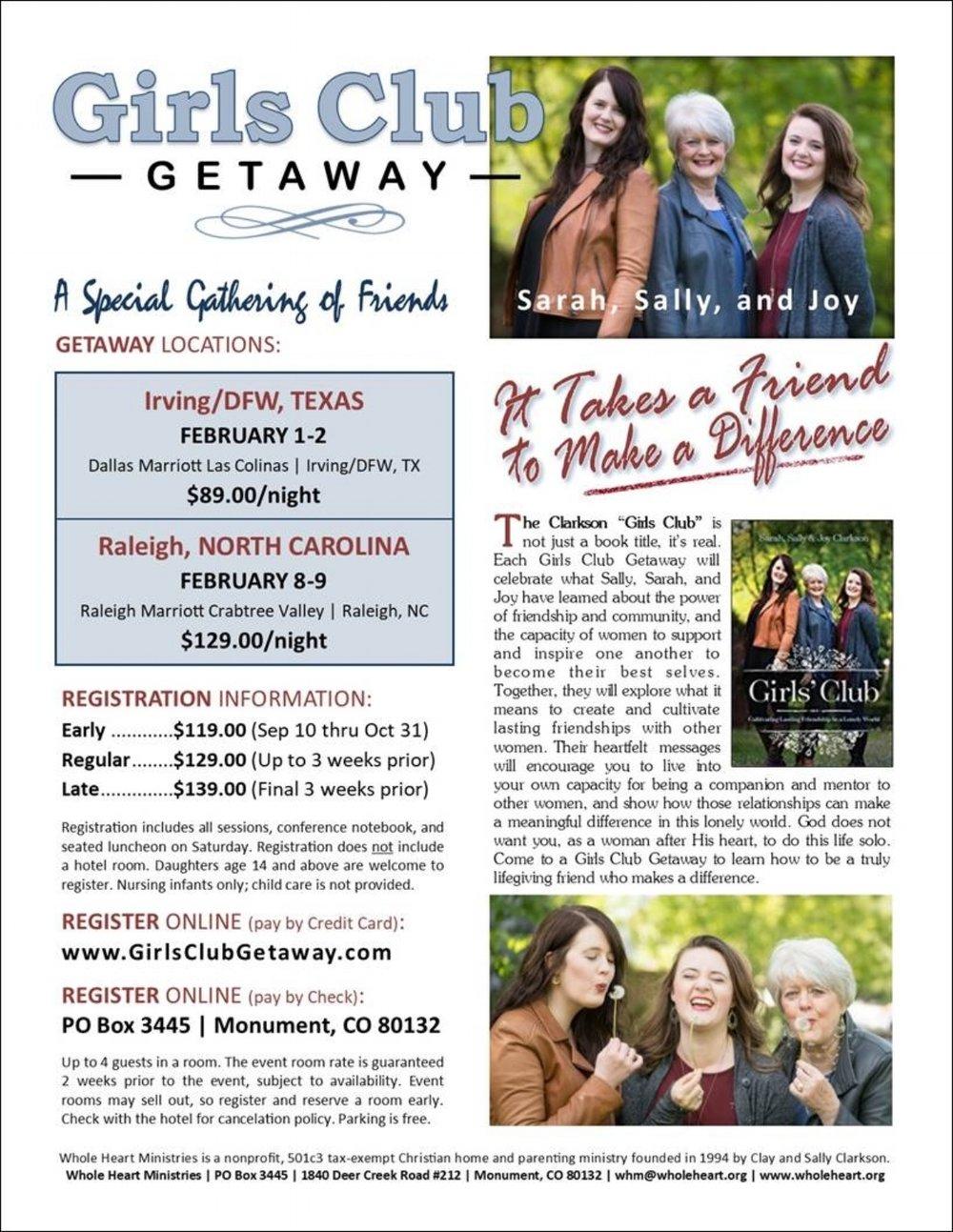 Register  HERE :   http://sallyclarkson.com/girls-club-getaway