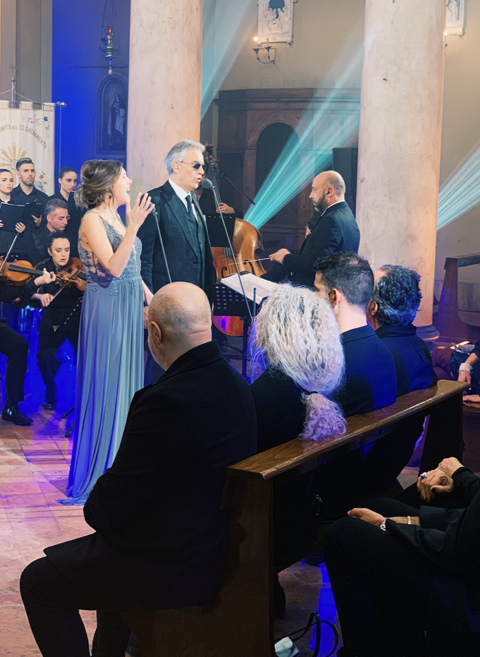 Click photo to watch Francesca Battistelli and Andrea Bocelli perform together.