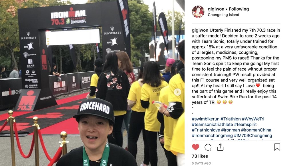 In many aspect of life, Gigi is the source of my inspiration. In sports, she is the role model and the one who demonstrate champion mindset when she got turned on. She done this race without much preparation and under the irritating allergies just because she wanted to share the post race happiness with the team!