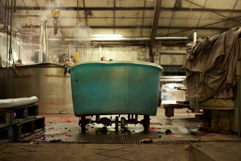 Post-dye vat in the Harris Tweed Mill, Lewis, Photo courtesy of Robert Leslie