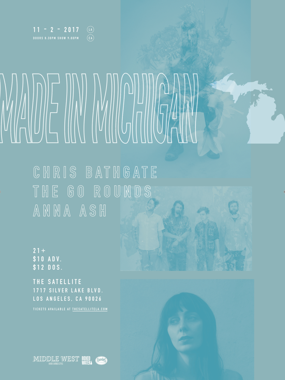 Show poster for our Made in Michigan show in LA. Designed by Fairfax Buchanan Banks