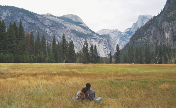 couple looking at mountains