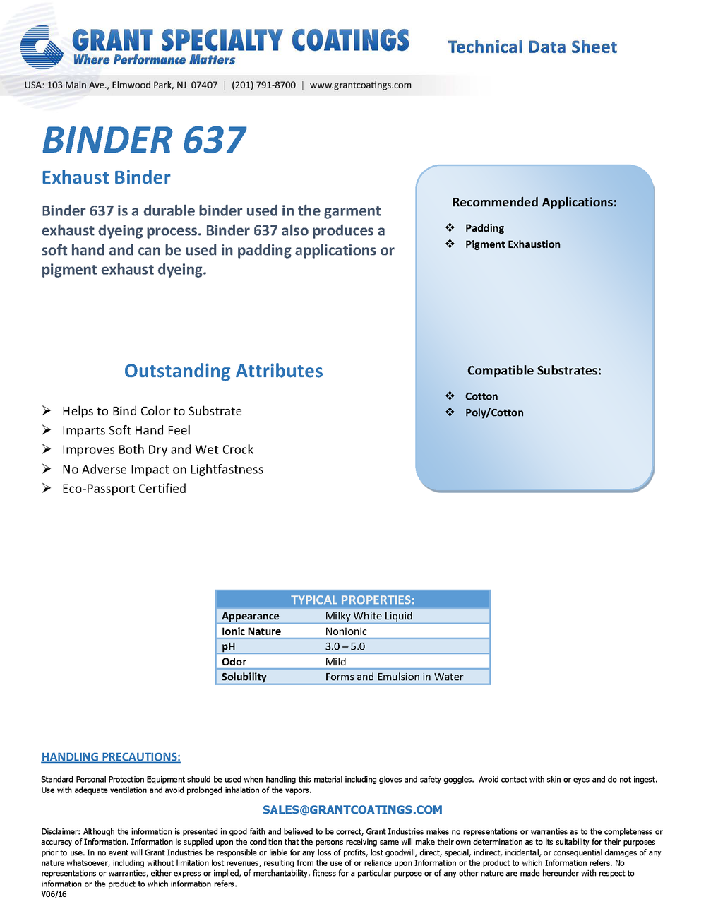Textile Auxiliary Binder 637
