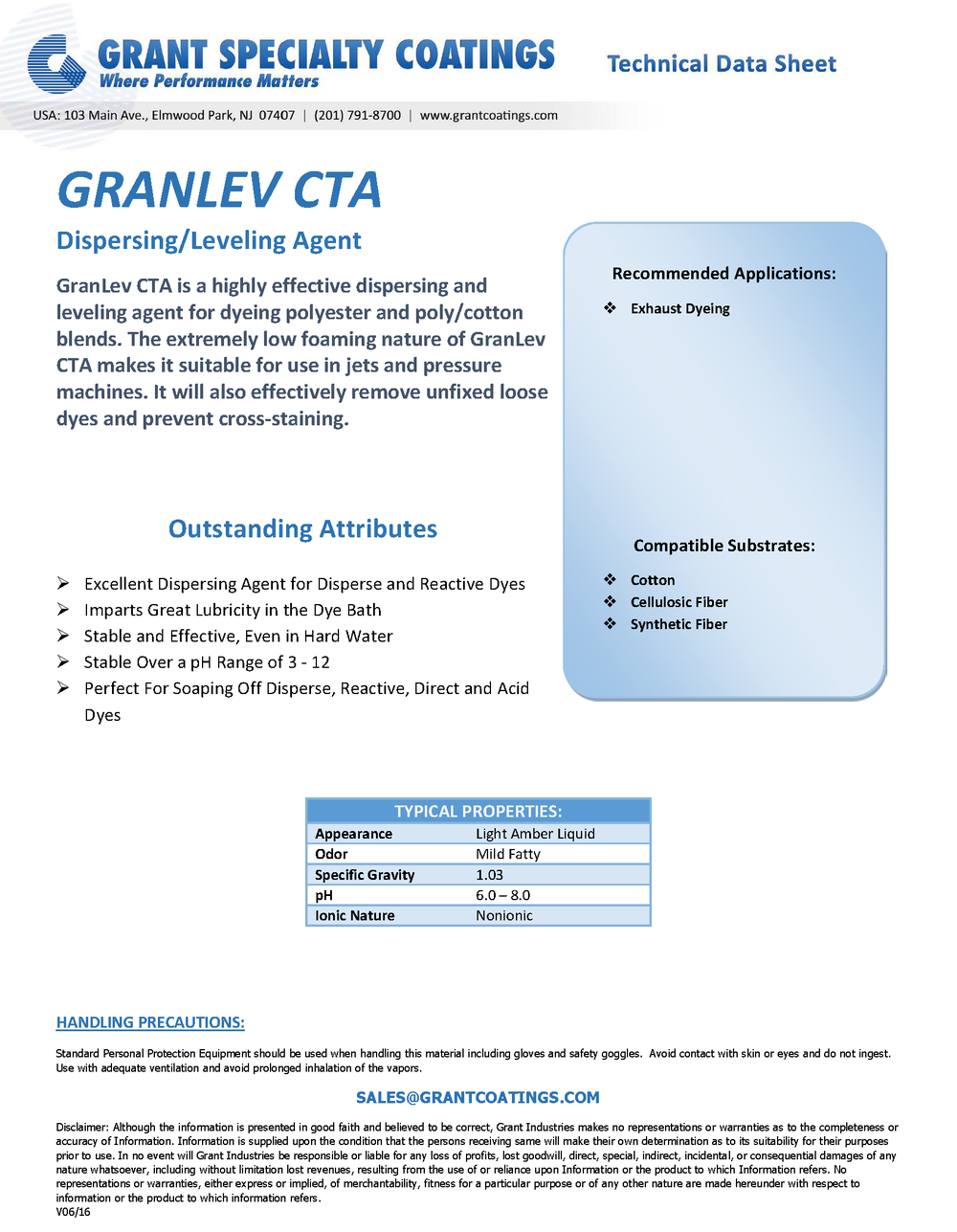 Textile Auxiliary Dispersing & Leveling GranLev CTA