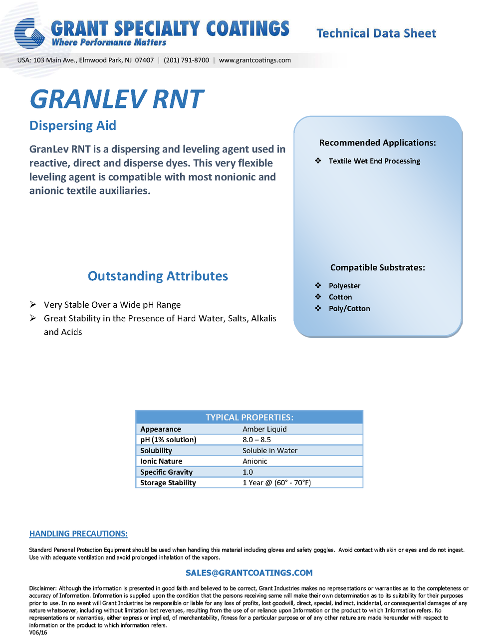 Textile Auxiliary Dispersing Leveling GranLev RNT