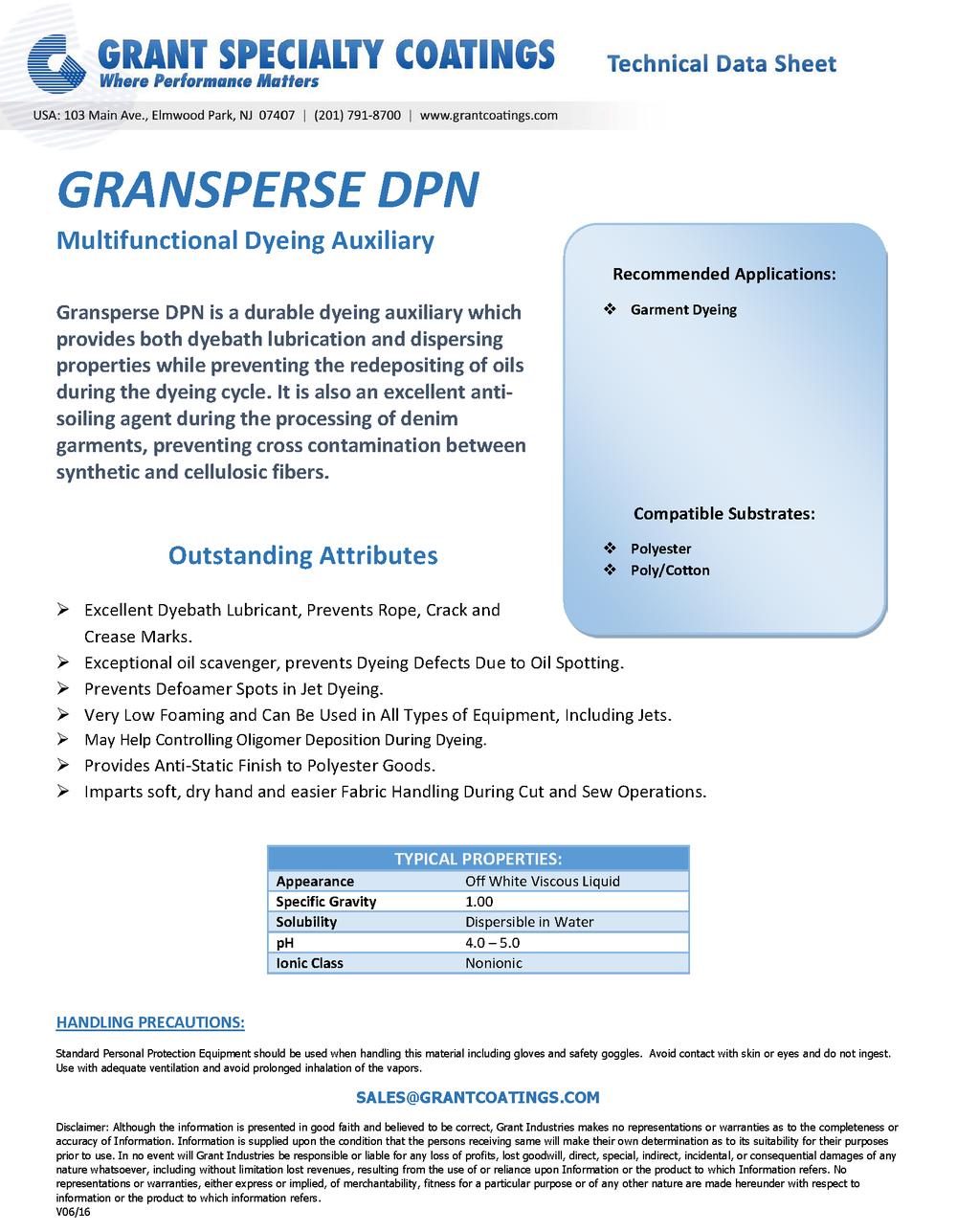 Garment Dyeing Dispersing Leveling Gransperse DPN