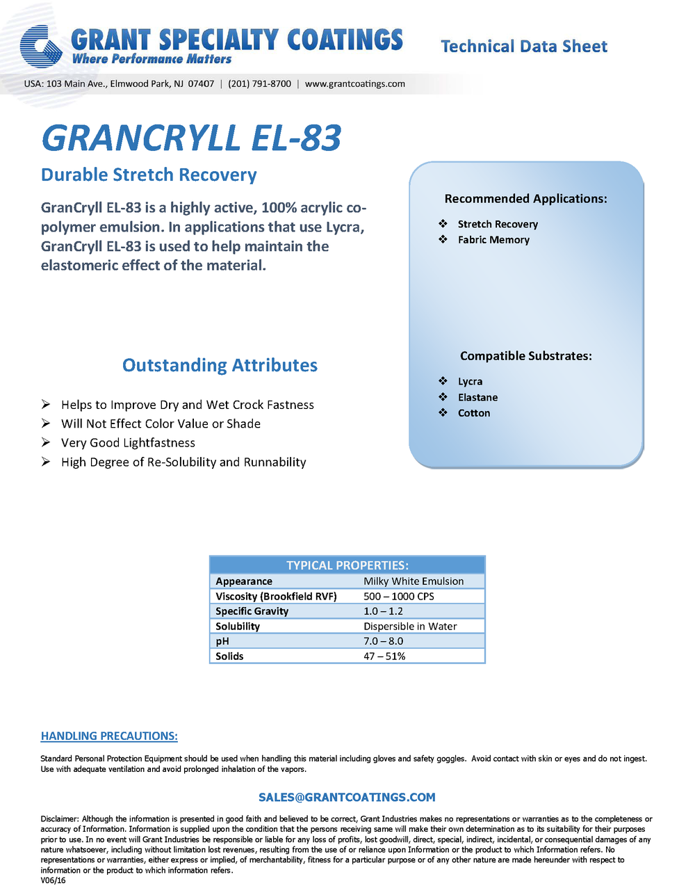 Textile Auxiliary Stretch Recovery GranCryll EL-83