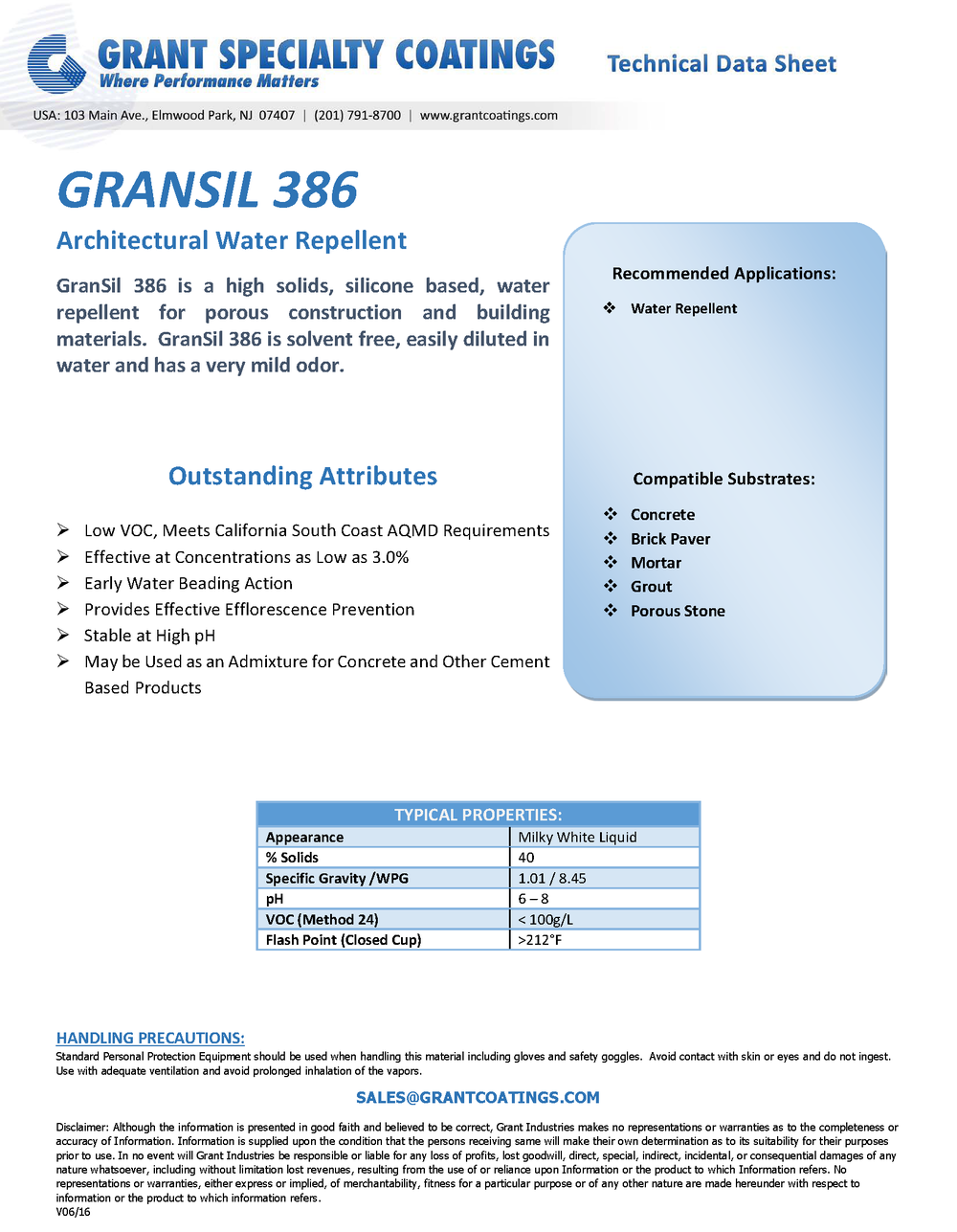 Architectural Products Water Repellent GranSil 386